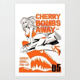 CHERRY BOMBS AWAY PIN-UP GIRL Art Print