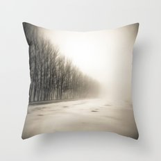Trees in mist Throw Pillow