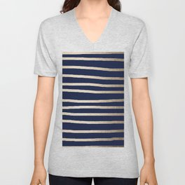 Drawn Stripes White Gold Sands on Nautical Navy Blue Unisex V-Neck