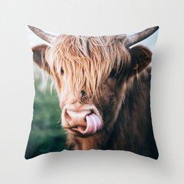 scottish highlander Throw Pillow