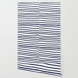 Simply Drawn Stripes in Nautical Navy Wallpaper