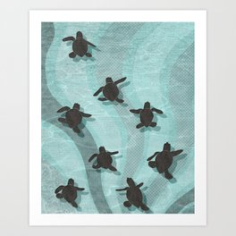 Loggerhead sea turtle hatchlings Art Print