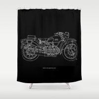 moto Shower Curtains featuring MOTO GUZZI AIRONE 250, 1939 Original Handmade Sketch, white line on black background by Larsson Stevensem