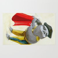 """sloths Area & Throw Rugs featuring Sloths Are Bad At Things- Mario Lanza the Matador! by Megan """"Tillette"""" Jones"""