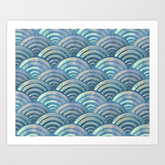Colorful fish scales pattern Art Print