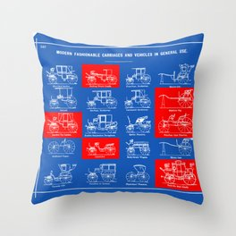 MODERN FASHIONABLE CARRIAGES AND VEHICLES IN GENERAL USE. I Throw Pillow