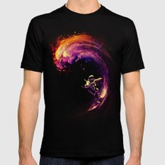 Space Surfing MEDIUM Black Mens Fitted Tee