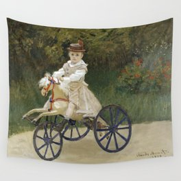 Jean Monet on his Hobby Horse 1872 by Claude Monet Wall Tapestry