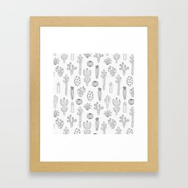 Cactus Silhouette Black Framed Art Print