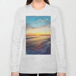 Summer Sunset Ocean Beach - Nature Photography Long Sleeve T-shirt