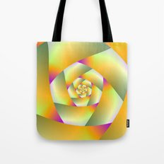 Yellow Pink and Green Spiral Tote Bag