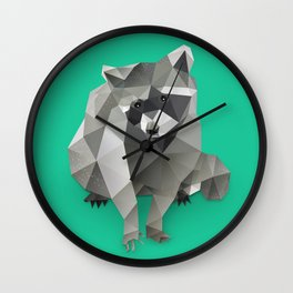 Low Poly Racoon Wall Clock
