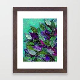 BLOOMING BEAUTIFUL 1 - Floral Painting Mint Green Seafoam Purple White Leaves Petals Summer Flowers Framed Art Print