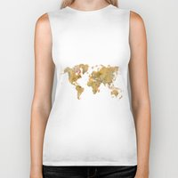 vintage map Biker Tanks featuring  World Map Yellow Vintage by City Art Posters