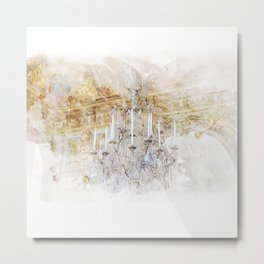 Palace Chandelier Gold Metal Print
