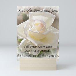 Seek His Peace: White Rose Bloom Mini Art Print