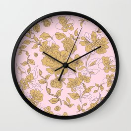 Mustard Pink Vintage Floral Wall Clock