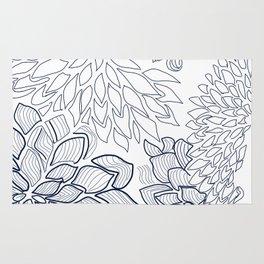 Design of floral décor in indigo palette Rug