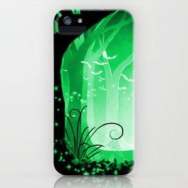 Dark Forest at Dawn in Emerald iPhone Case