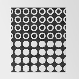 Mid Century Modern Circles And Dots Black & White Throw Blanket