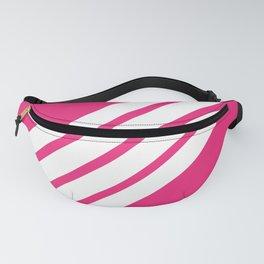 Pinka - Minimal Feminine 70s White Retro Stripes on Pink Fanny Pack