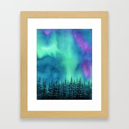 """Wilderness Lights"" Aurora Borealis watercolor landscape painting Framed Art Print"