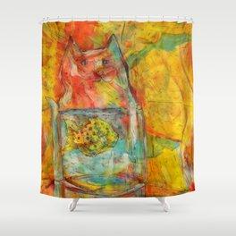 Cat Jar - Fish Shower Curtain