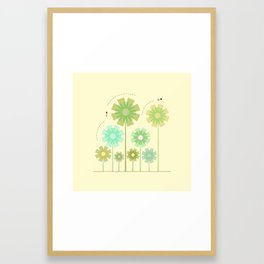 Blooming Flowers and Honey Bees Framed Art Print