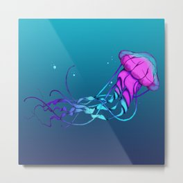 Jellyfish Blue Metal Print
