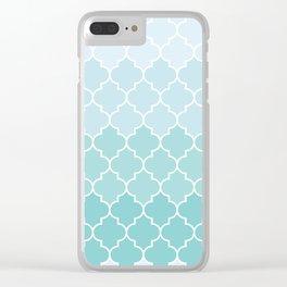 Ombre Moroccan Trellis, Latticework - Blue White Clear iPhone Case
