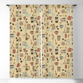Coffee Love Patten / Cute Coffee Design / Caffeine Addict / Coffee Art / French Press / Coffee Shop Blackout Curtain