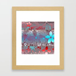 Flowers In Lace Red Blue Framed Art Print