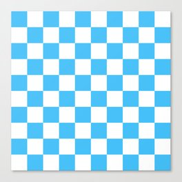 Cheerful Blue Checkerboard Pattern Canvas Print