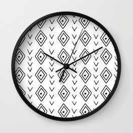 mudcloth 9 minimal textured black and white pattern home decor minimalist beach Wall Clock