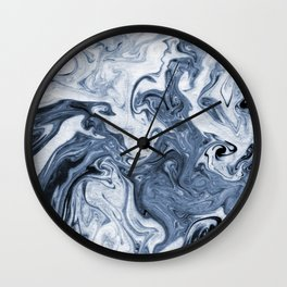 Isao - spilled ink art print marble blue indigo india ink original waves ocean watercolor painting  Wall Clock