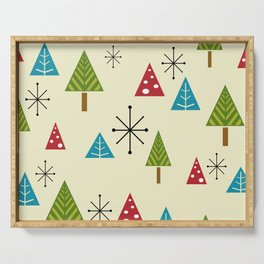 Mid Century Modern Christmas Trees Serving Tray