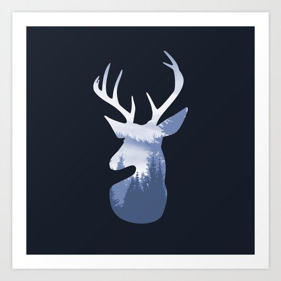 Deer Abstract Blue Landscape Design Art Print
