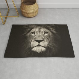 Portrait of a lion king - monochrome photography illustration Rug