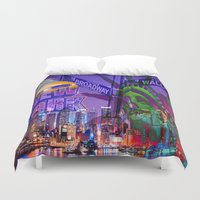 grafitti Duvet Covers featuring New York Collage by Bakmann Art