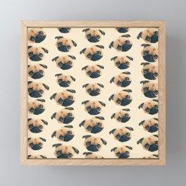 cartoon cute puppy dog fawn pug pattern Framed Mini Art Print