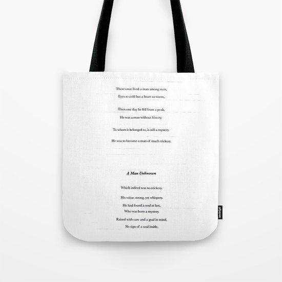 a man unknown Tote Bag