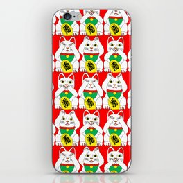 Three Wise Lucky Cats on Red iPhone Skin