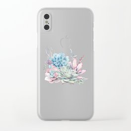 Pretty Pastel Succulents Clear iPhone Case