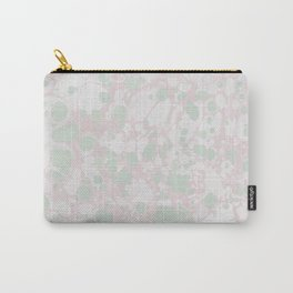 Pastel Paint Spill Pattern Green, Pink, White Carry-All Pouch