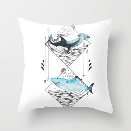 sharks on point Throw Pillow