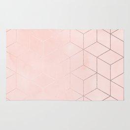 Rosegold Pink Geometric Blocks Rug
