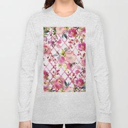 Pink coral violet watercolor floral quatrefoil pattern Long Sleeve T-shirt