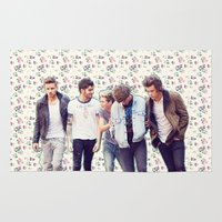 1d Area & Throw Rugs featuring Floral 1D by Valerie Hoffmann