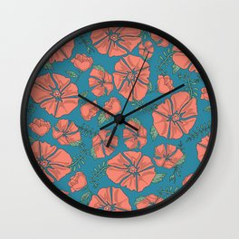 Coral Floral Wall Clock