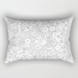 Clockwork B&W / Cogs and clockwork parts lineart pattern Rectangular Pillow